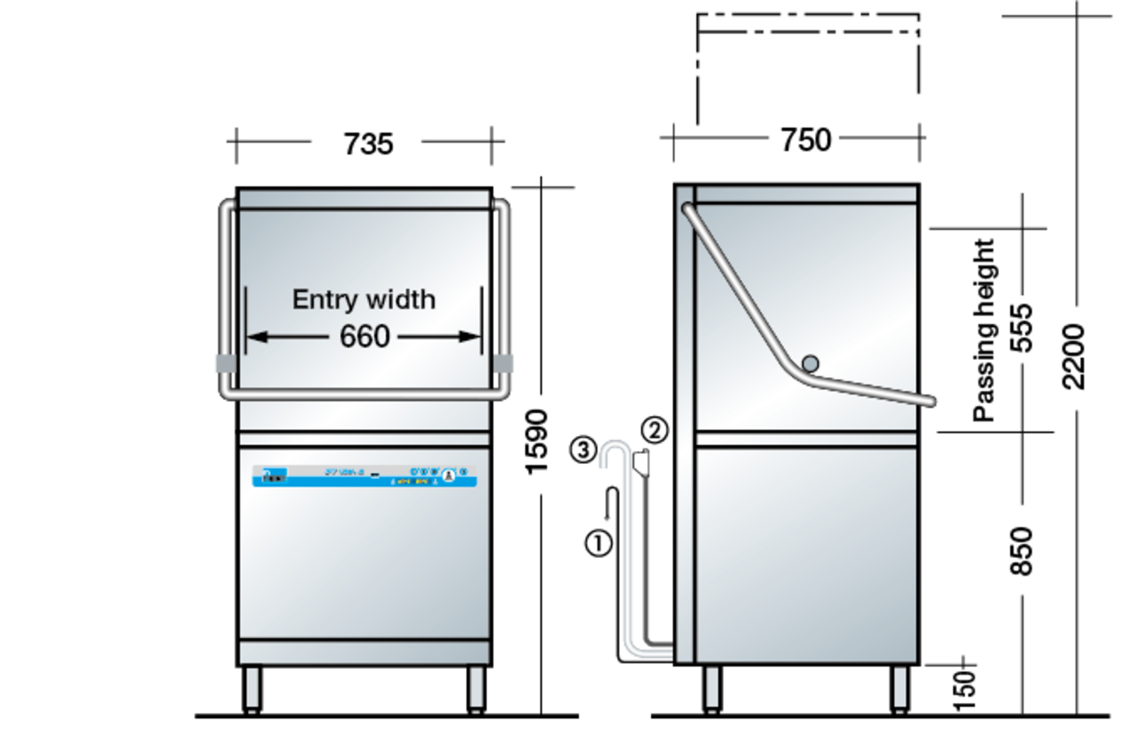 Commercial Pass Through Dishwasher Technical Data Meiko