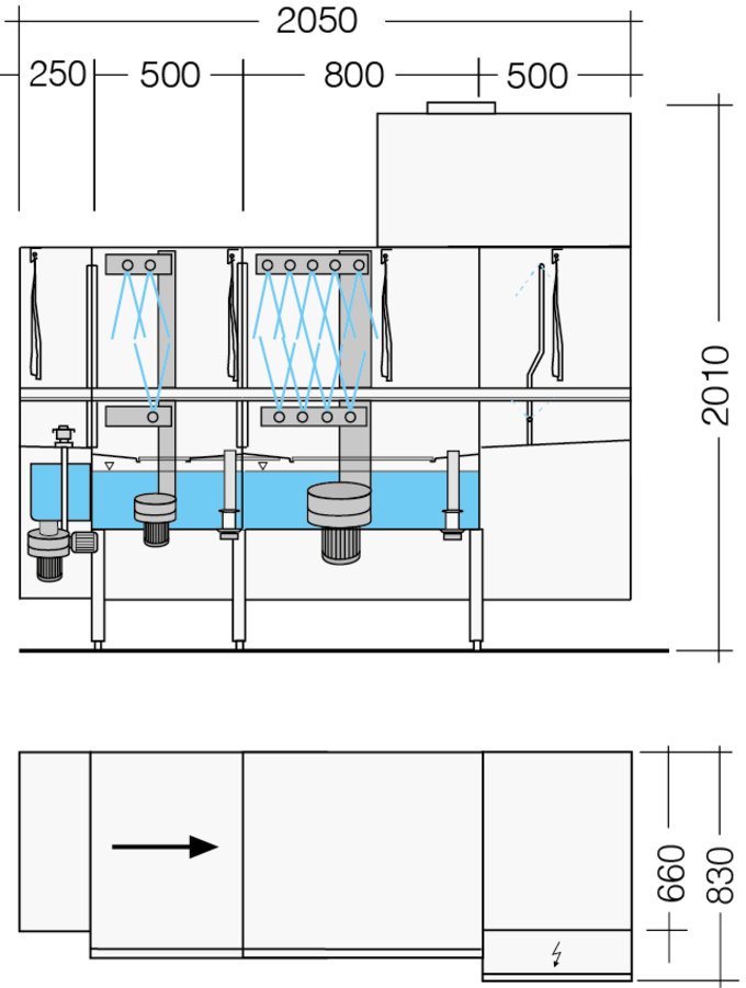 rack type dishwasher dimensional drawing